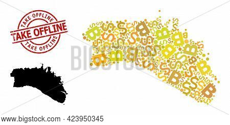 Rubber Take Offline Seal, And Money Mosaic Map Of Menorca Island. Red Round Stamp Contains Take Offl