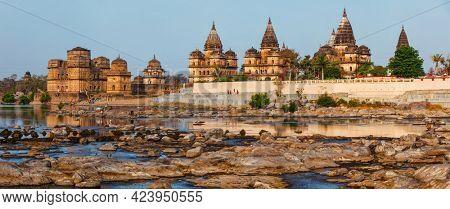 Tourist indian landmark - panorama of Royal cenotaphs of Orchha over Betwa river. Orchha, Madhya Pradesh, India