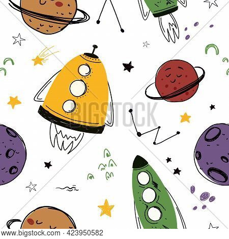 Seamless Pattern With Space Rockets And Planets, Stars. Vector Seamless Pattern For Wallpaper, Paper