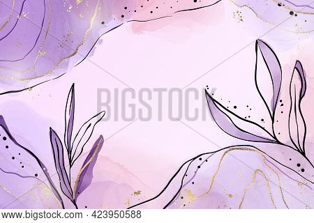 Abstract Dusty Violet Liquid Watercolor Background With Branch And Gold Foil Elements. Pastel Lavend