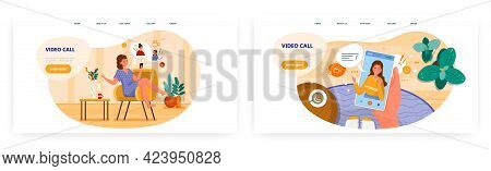 Happy Woman Talking To Her Friends Over Group Video Call Chat. Landing Page Design, Website Banner V