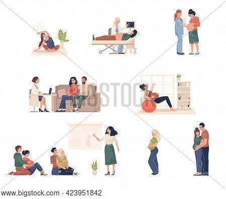 Collection Pregnant Women Visit The Doctor, Pregnancy Courses, Do Gymnastic Exercises And Yogu. Heal