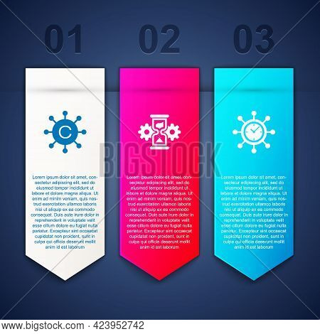 Set Copywriting Network, Hourglass And Gear And Clock. Business Infographic Template. Vector