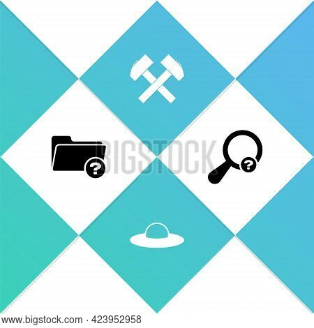 Set Unknown Directory, Ufo Flying Spaceship, Two Crossed Hammers And Search Icon. Vector