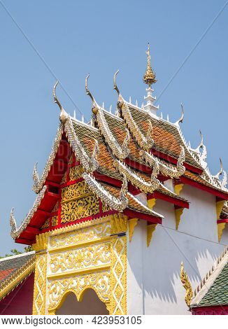 Carved Floral Pattern In The Traditional Thai Style On The Gable Of The Thai Church, Carved Patterns