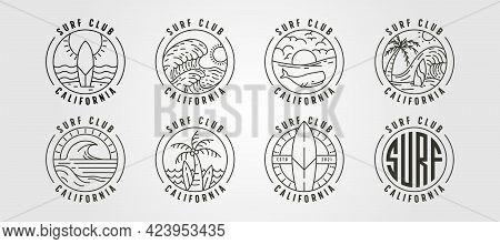 Set Of Line Art California Surf Club Icon Logo Vector Illustration Design, Ocean Landscape Minimal L