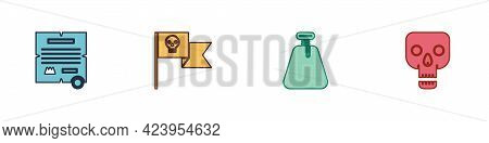 Set Decree, Parchment, Scroll, Pirate Flag With Skull, Sack And Skull Icon. Vector