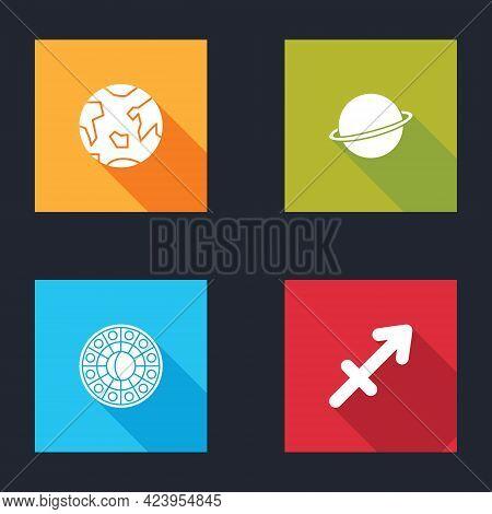 Set Planet Earth, Saturn, Astrology Horoscope Circle And Sagittarius Zodiac Icon. Vector