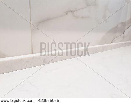 Countertop Marble Skirting Board, Wall Border. White Marble Countertop, Kitchen Countertop With Whit