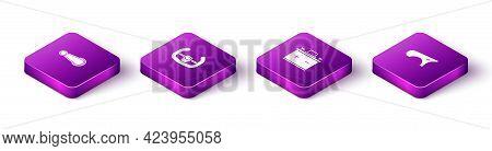Set Isometric Car Door Handle, Sport Steering Wheel, Battery And Fender Icon. Vector