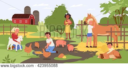 Children In Contact Zoo, Happy Kids And Animals, Child Holding Cute Piggy, Hugging Dog