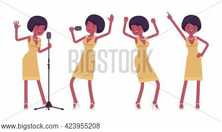 Musician, Jazz, Rock And Roll African Woman Singing, Professional Dance. Ethnic Performer, Pop Star