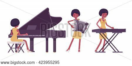 Musician, Jazz, Rock And Roll African Woman Playing Keyboard Instruments. Grand Piano, Accordion, Sy