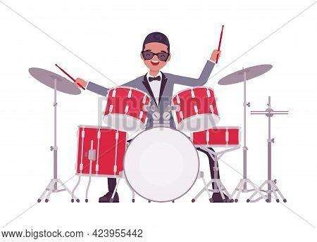 Musician, Jazz, Rock And Roll Man Playing Drum Instruments, Percussion. Night Club Music, Pop Concer