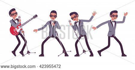 Musician, Jazz, Rock And Roll Man Singing, Dance Or Karaoke. Electro Guitar Performer, Pop Star Musi