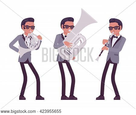 Musician, Jazz, Rock And Roll Man Playing Professional Wind Instruments. Clarinet, French Horn, Tuba