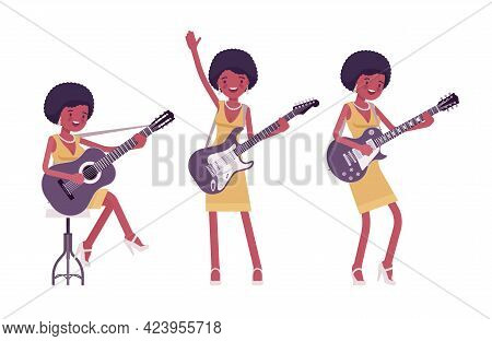 Musician, Jazz, Rock And Roll African Woman Playing String Instruments. Electro Guitar, Classic Guit