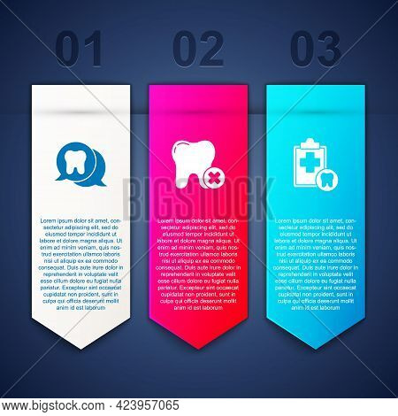 Set Tooth, With Caries And Dental Card. Business Infographic Template. Vector