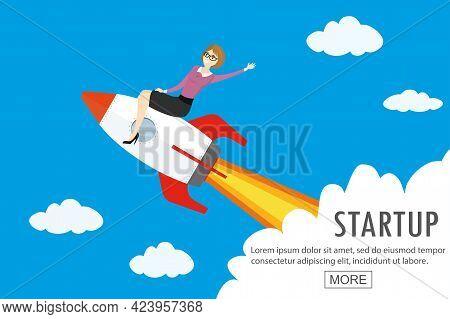 Beauty Caucasian Businesswoman On Rocket Flying In Sky