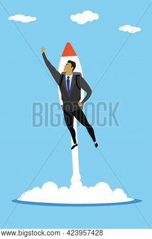 Business Superhero With Rocket, Success Businessman Takes Off Wit