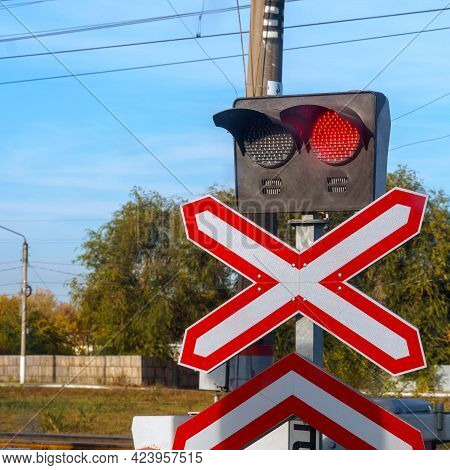 Traffic Light Or Semaphore Flashing Red At A Railway Crossing