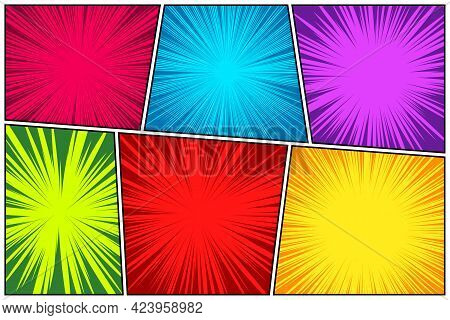 Comic Book Colorful Radial Lines Collection. Cartoon Comics Background With Motion, Speed Lines. Ret