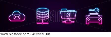Set Line Cloud Mail Server, Server, Data, Web Hosting, Ftp Cancel Operation And Car Rental. Glowing