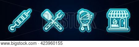 Set Line Grilled Shish Kebab, Crossed Fork And Spatula, Barbecue Grill And Shopping Building. Glowin