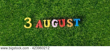 August 3. Image Of Wooden Colored Letters And Numbers On August 3 On The Background Of A Green Lawn.