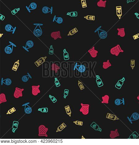 Set Line Location With Fire Flame, Ketchup Bottle, And Oven Glove On Seamless Pattern. Vector