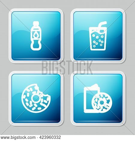 Set Line Bottle Of Water, Glass With, Donut And Aluminum Can Soda And Donut Icon. Vector