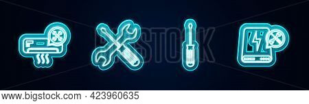 Set Line Air Conditioner Service, Crossed Screwdriver And Wrench, Screwdriver And Power Bank. Glowin
