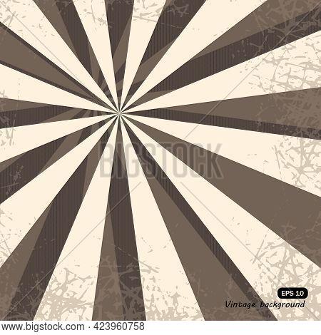 Vintage Sunshine Grunge Texture Sepia Retro Rays Background. Comic Cartoon Pattern With Starburst An