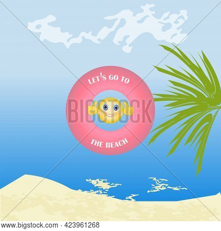Swimming Inflatable Ring, Seascape, Cheerful Little Man - Vector. Summer Vacation.