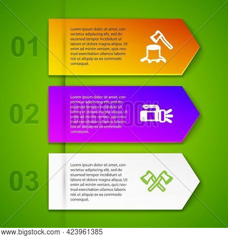 Set Line Wooden Axe In Stump, Flashlight, Crossed Wooden And Rafting Boat. Business Infographic Temp