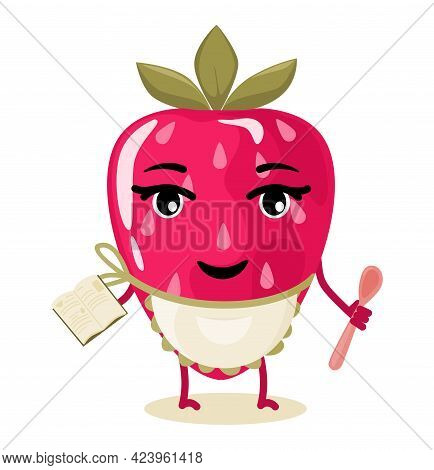 Strawberry Berry Character, Stylized Chef. Animated Cartoon Character.