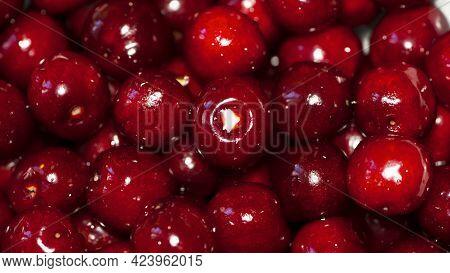 Background Prunus Avium. Fresh Sweet Cherries. Red Cherry Berry, Background, Close-up. Ripe Juicy Sw
