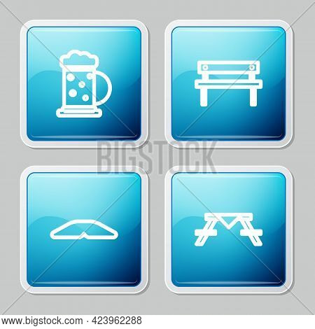 Set Line Wooden Beer Mug, Bench, Homemade Pie And Picnic Table With Benches Icon. Vector