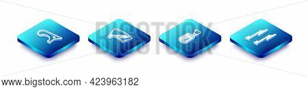 Set Isometric Line Car Fender, Windscreen Wiper, Gear Shifter And Icon. Vector