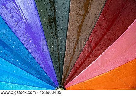 Wet Surface Of Rainbow Umbrella Under Drizzle Rain. Drops Dripping At Bright Umbrella. Rainy Weather