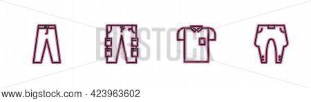 Set Line Pants, Polo Shirt, Cargo Pants And Icon. Vector