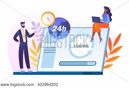 Tiny People Update Operation System. Customer Service, Online Store Hotline Operator Advise Customer