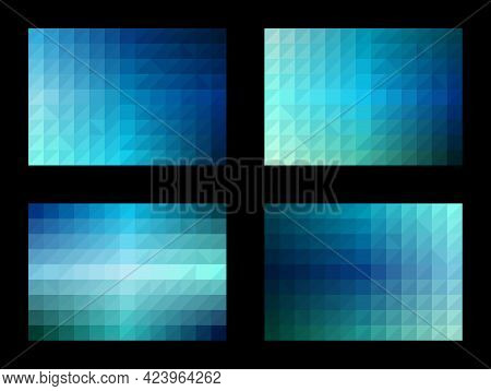 Geometric Pattern Ocean Color Set. Gradient Square Triangle. Blue Background With Sea Tones. Templat