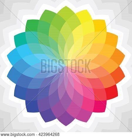Colorful Flower Patterns In Rainbow Tones. Mandala Shape Gradient Color Theory. Design Elements For