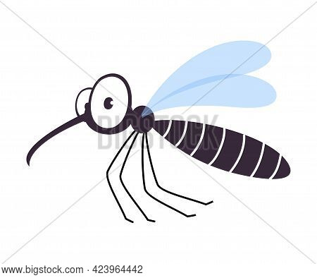Cute Funny Mosquito Insect, Lovely Colorful Creature Cartoon Vector Illustration