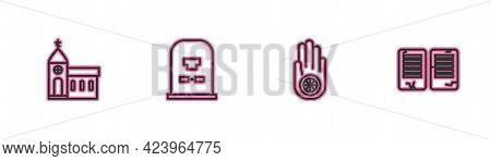 Set Line Church Building, Jainism Or Jain Dharma, Tombstone With Rip Written And The Commandments Ic