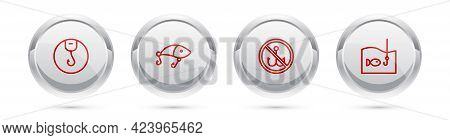 Set Line Fishing Hook, Lure, No Fishing And With. Silver Circle Button. Vector