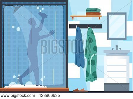 Daily Life. Man Taking A Shower Washing Hair With Shampoo, Hygiene Procedures, Clean And Healthy Lif
