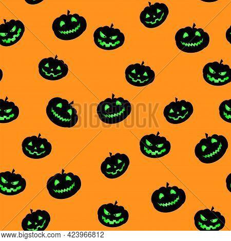 Halloween Pumpkin Seamless Pattern. Pumpkin With Green Eyes On Orange Background. Horror Design Elem