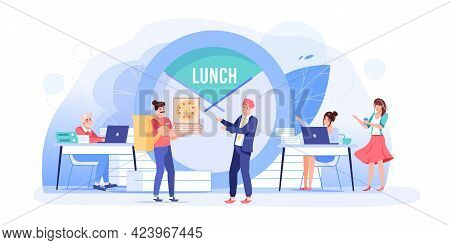 Vector Cartoon Flat Employee Characters At Food Break.employees Office Workers At Lunch Time, Collea